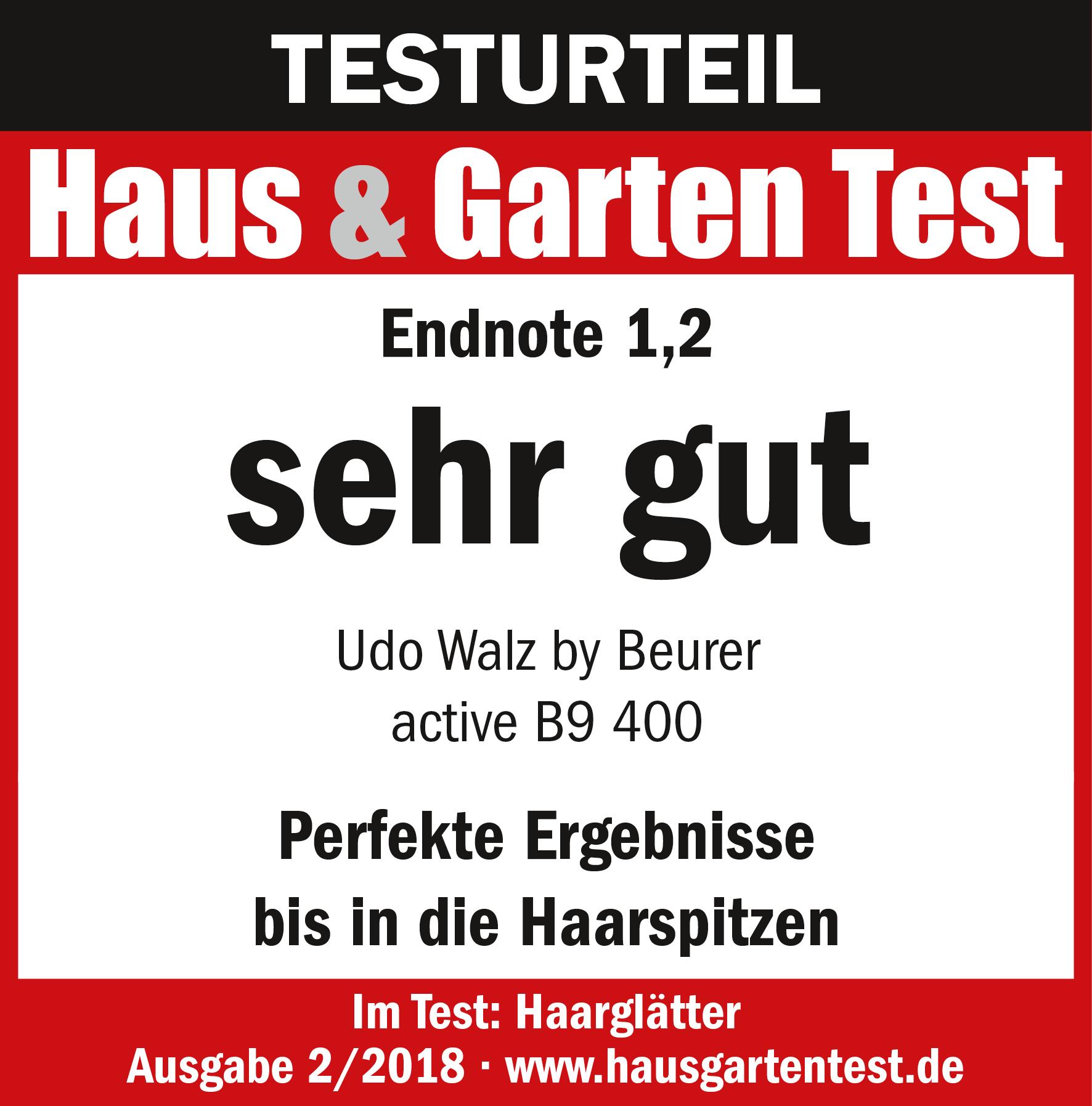 Testurteil: (1,2) sehr gut, für den Haarglätter von Beurer B9 400, 02/2018
