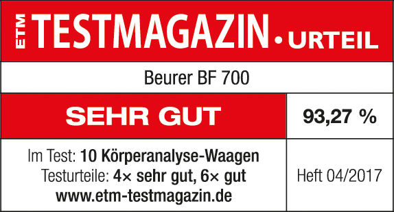 Test result: 93.27% very good for the BF 700 diagnostic bathroom scale, 04/2017