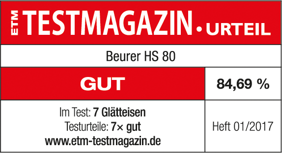 Test result: 84.69% good for the Beurer HS 80 hair styler, 01/2017