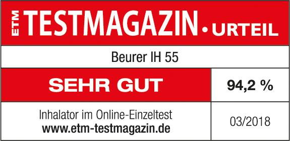 Résultat du test: 94,2%: mention Bien pour l'inhalateur Beurer IH55, 03/2018