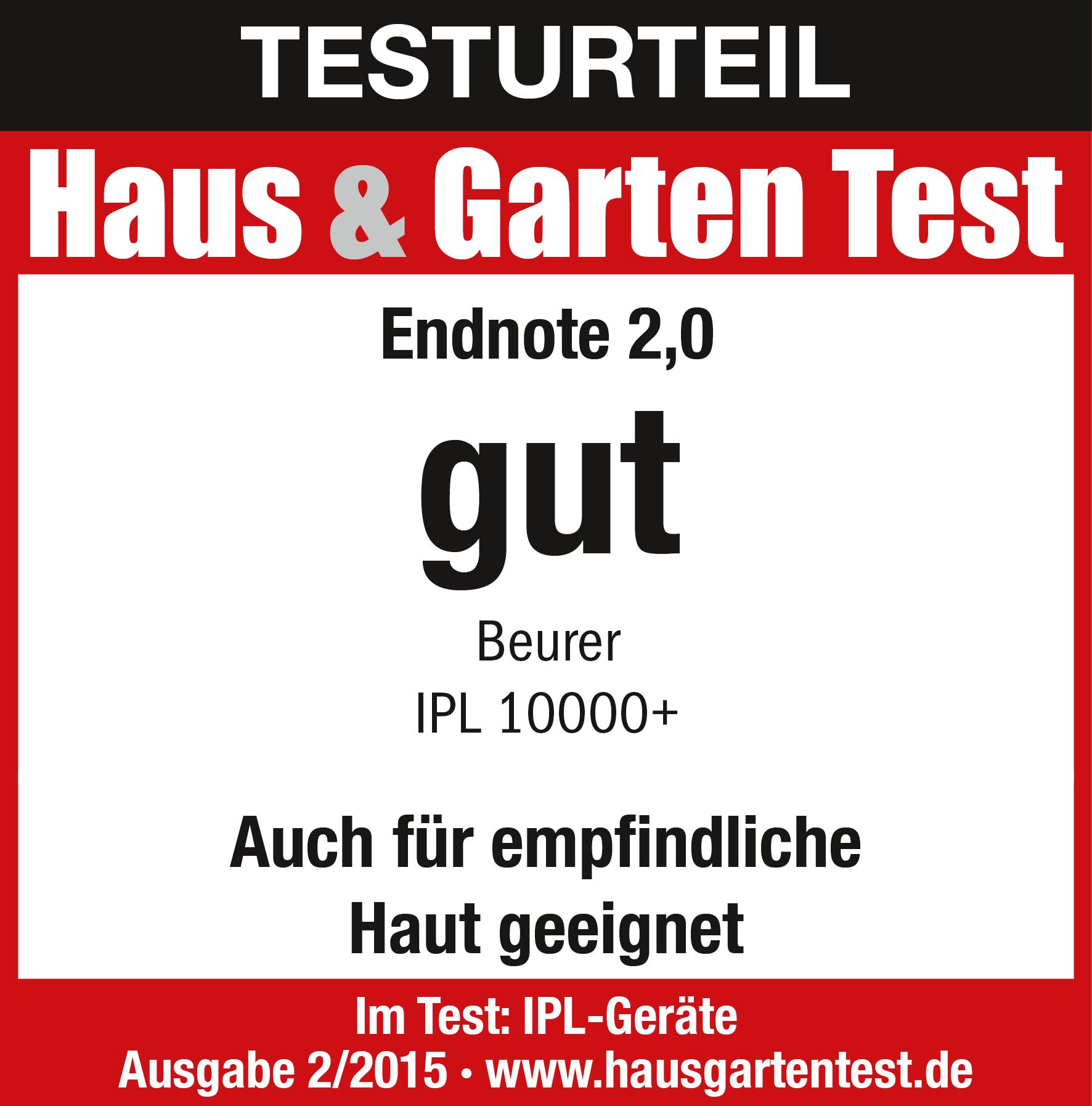 Risultato del test: (2,0) buono per l'epilatore IPL 10000+, 02/2015