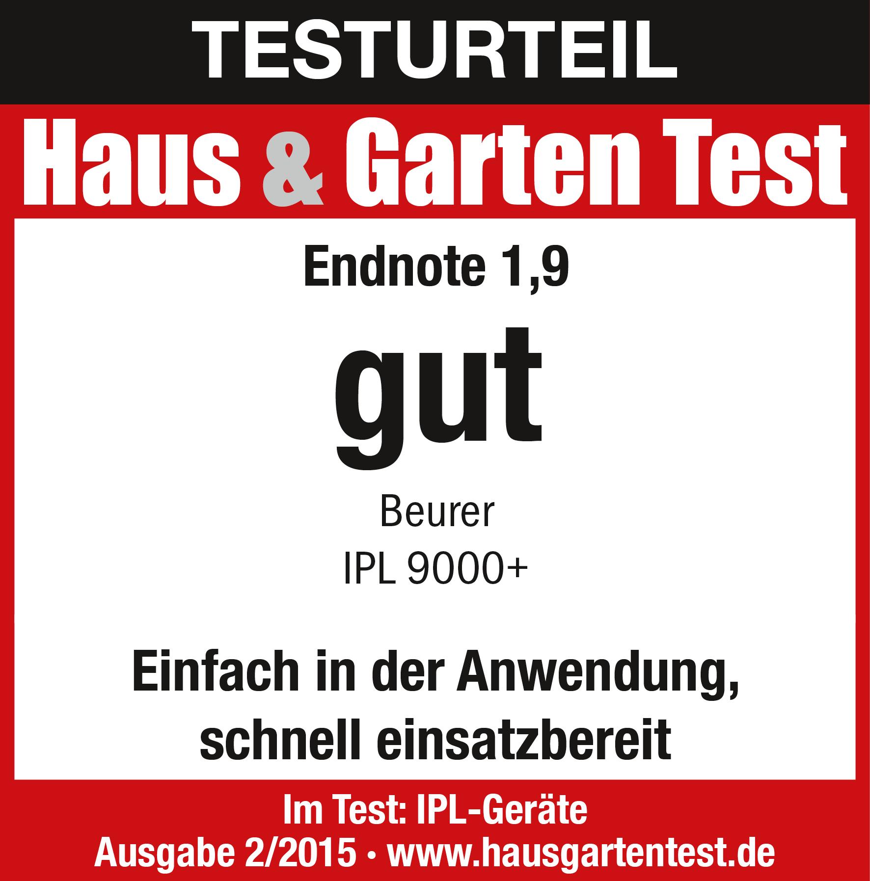 Résultat du test: (1,9): mention Bien pour l'épilateur IPL9000+, 02/2015