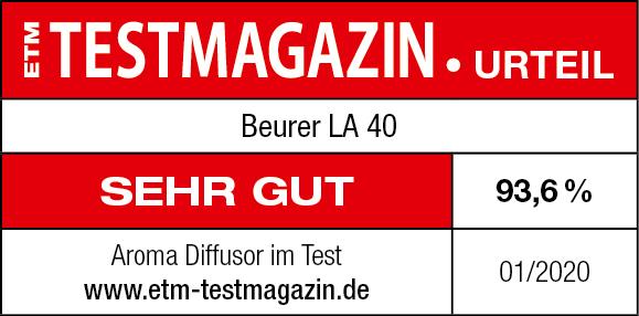 Résultat du test: 93,6 %: mention Très bien pour le LA 40, 01/2020