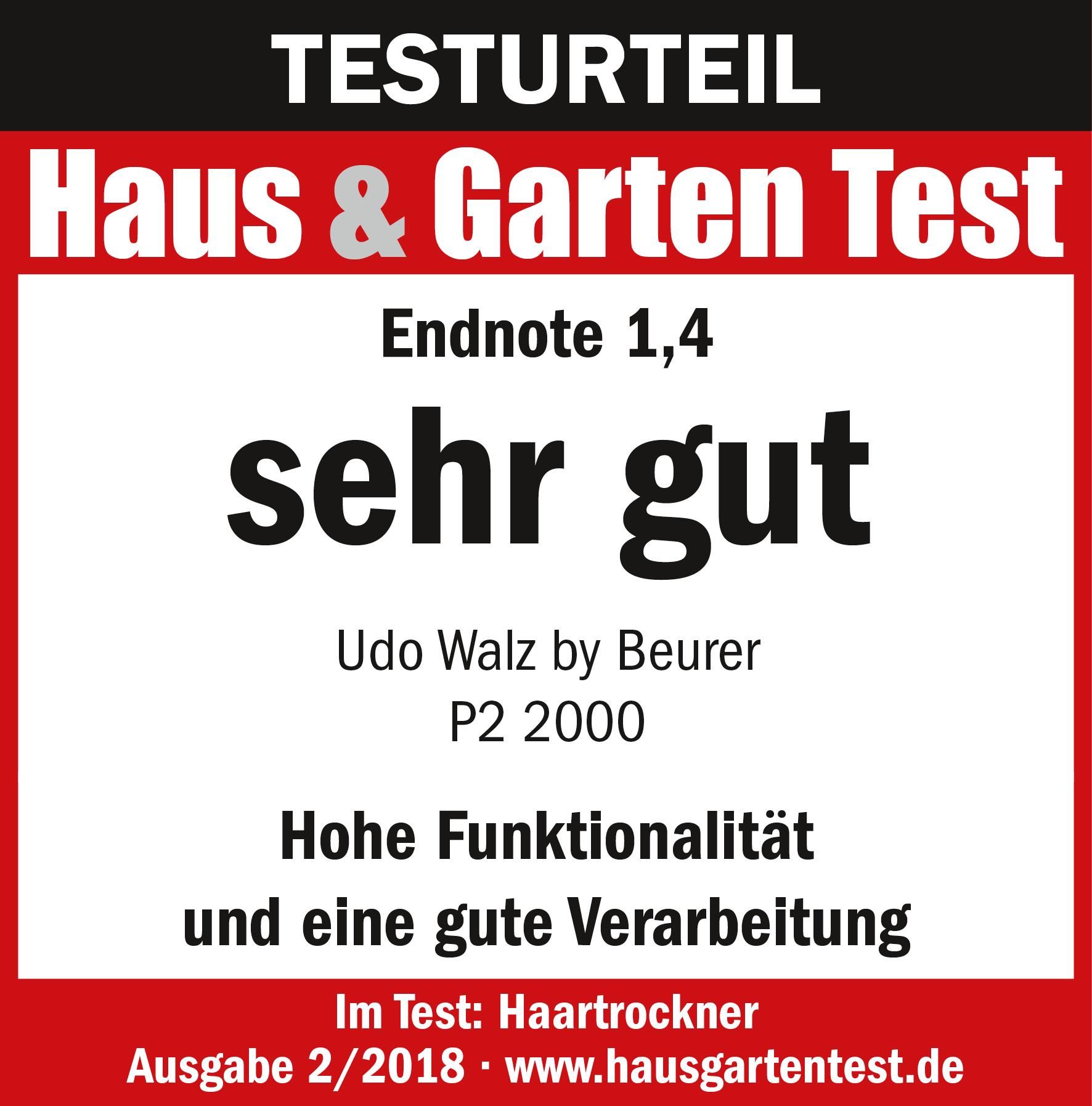 Testurteil: (1,4) sehr gut für den Haartrockner von Udo Walz by beurer P2 2000, 04/2017