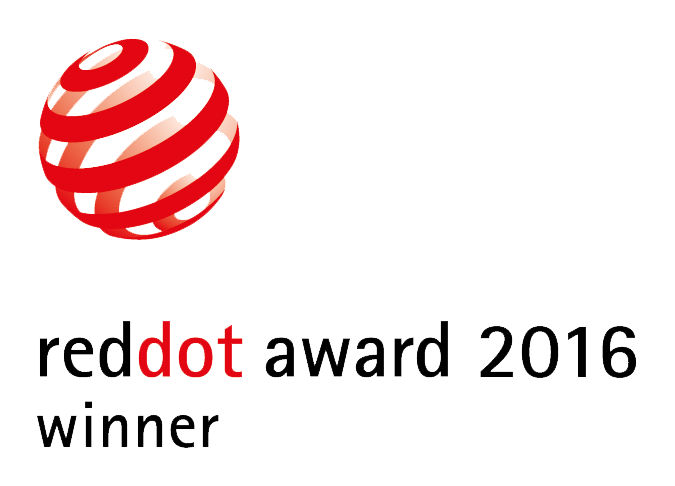 Red Dot Award: Product Design 2016. The product was awarded the coveted RED DOT design prize 2016
