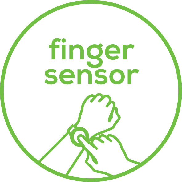 Finger sensors No chest strap – finger pulse measurement
