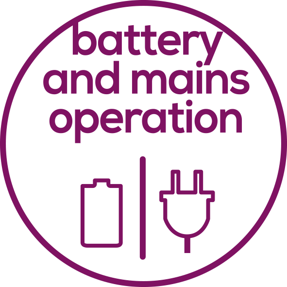 battery and mains operation The device can run on battery power or mains operation.