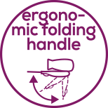 Ergonomically shaped folding handle Compact and practical