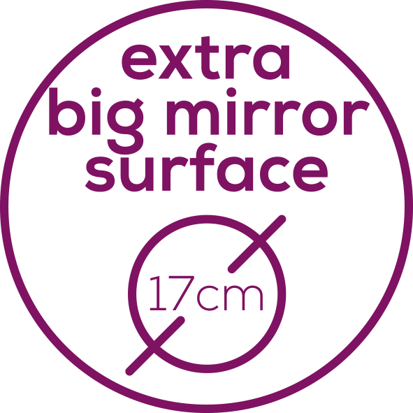 extra big mirror surface (17 cm) Measuring 17 cm, the mirror surface is particularly big.