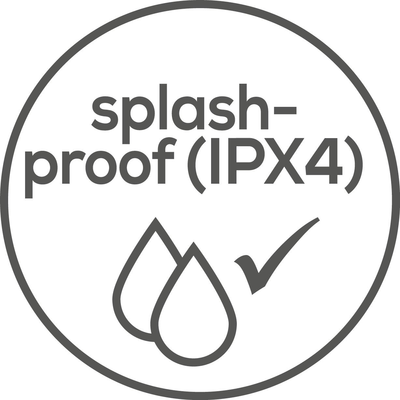 Protezione antispruzzo L'apparecchio è protetto dagli spruzzi d'acqua (IPX4)