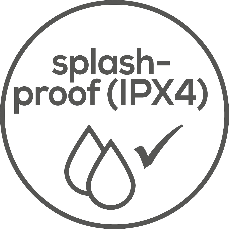 Splash-proof The device is splash-proof (IPX4)