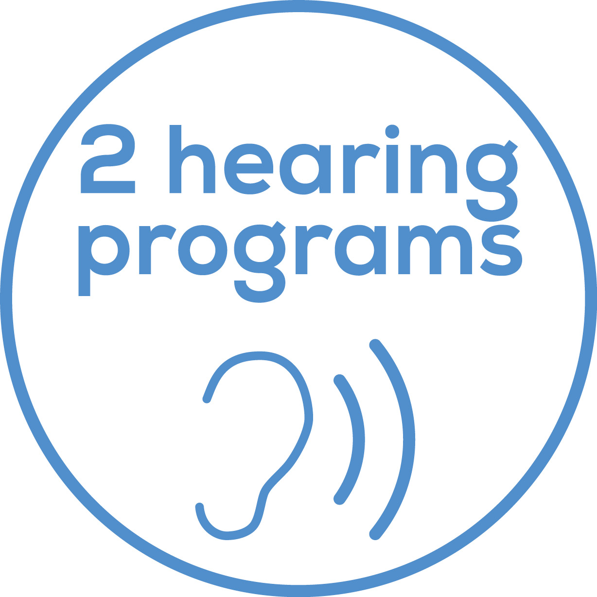 Hearing programmes Two programmes for loud and quiet environments
