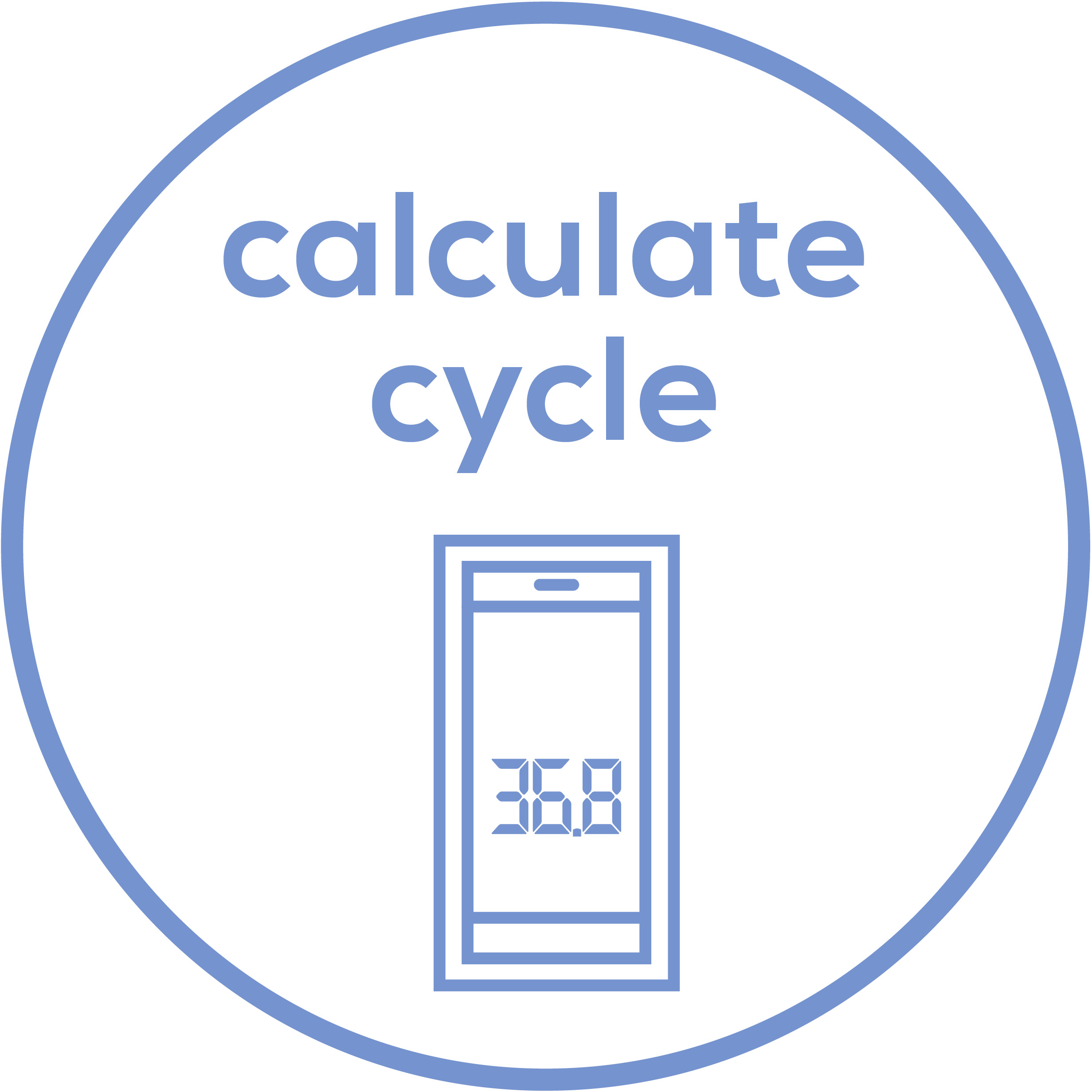 "Calculate cycle  Use with the ""Ovy"" app for natural cycle tracking"