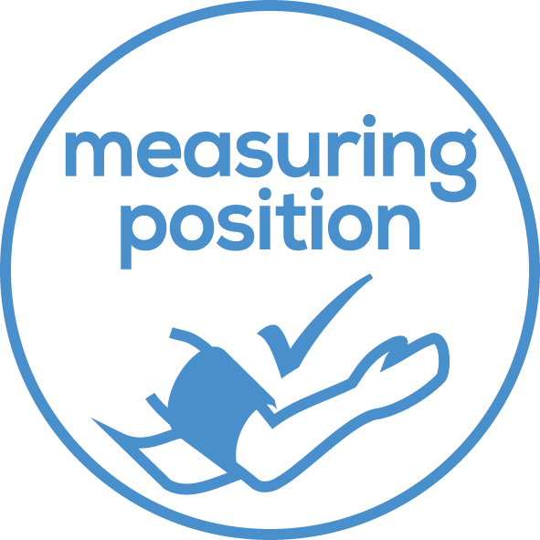 Positioning indicator For correct positioning of the blood pressure monitor at heart level