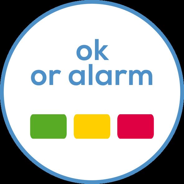 Alarma de fiebre por LED Indicación en verde/amarillo/rojo
