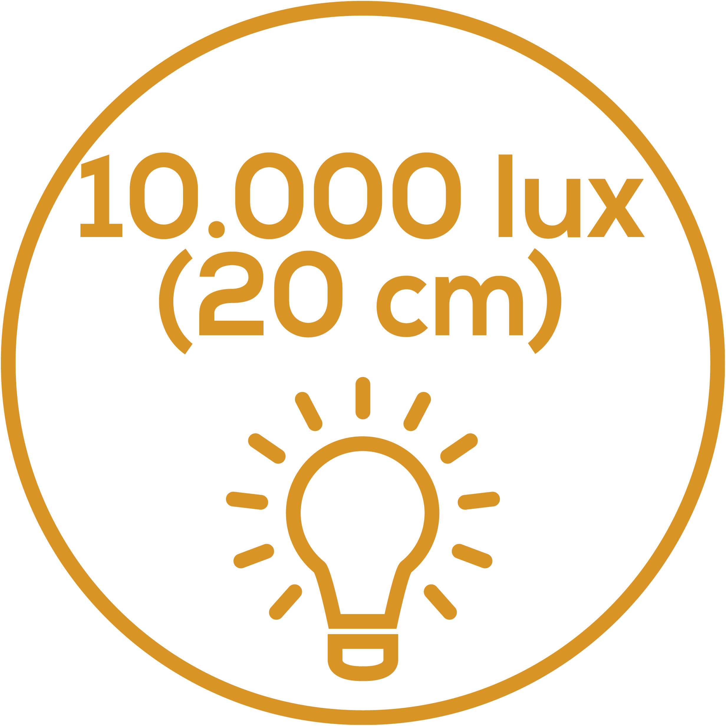 Light intensity of 10,000 lux Light intensity of 10,000 lux. Simulation of sunlight: Light intensity approx. 10,000 lux (distance of 20 cm)