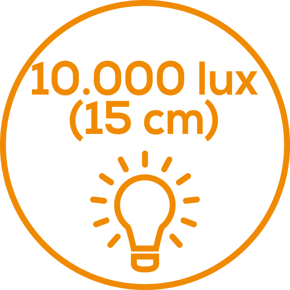 Light intensity of 10,000 lux Light intensity of 10,000 lux. Simulation of sunlight: Light intensity approx. 10,000 lux (distance of 15 cm)