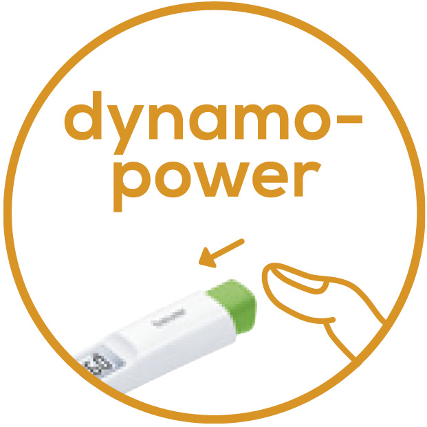 Dynamo power Environmentally friendly and economical: no battery needed as it is activated simply by pressing the dynamo power button