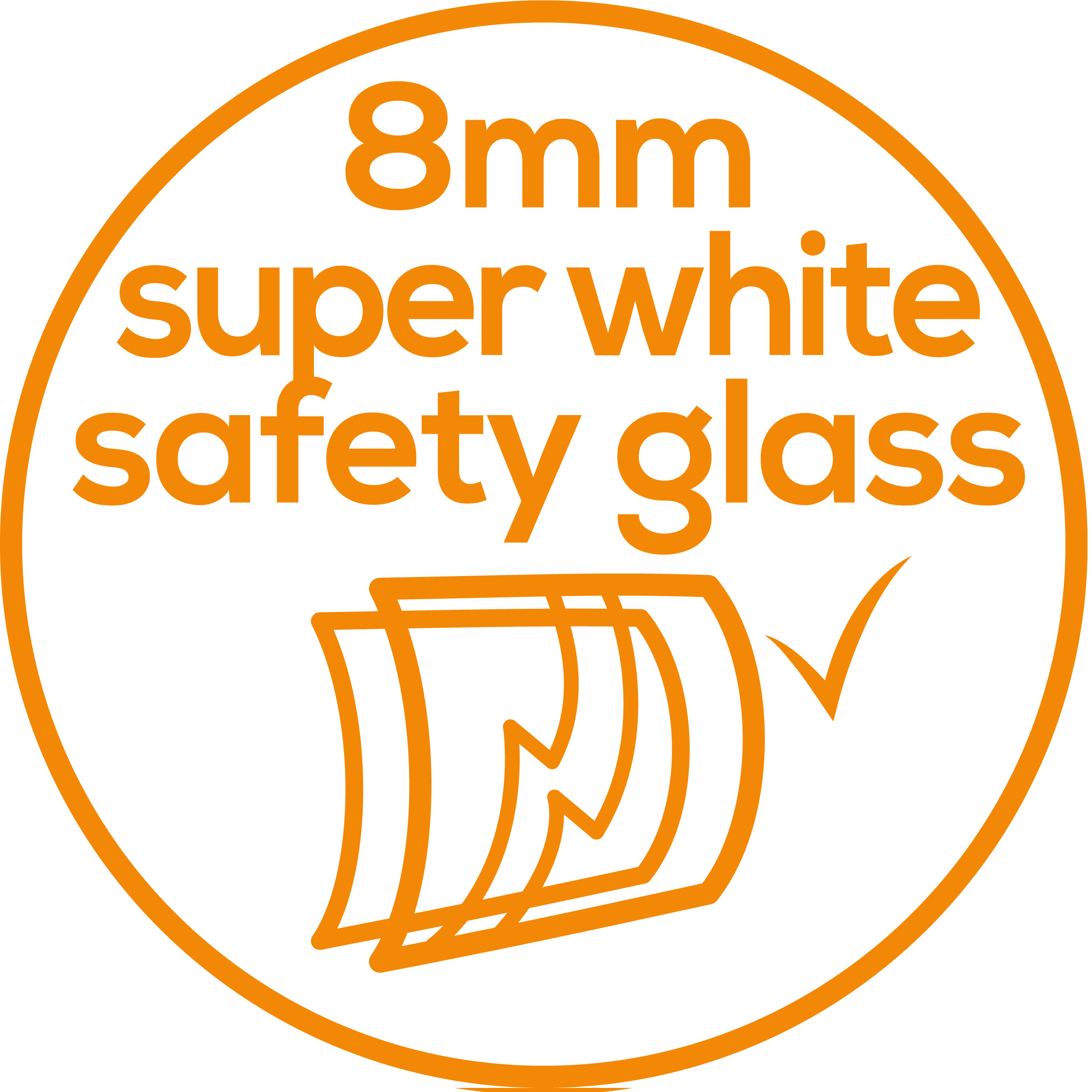 Safety glass Particularly large standing surface made of super-white 8 mm safety glass.