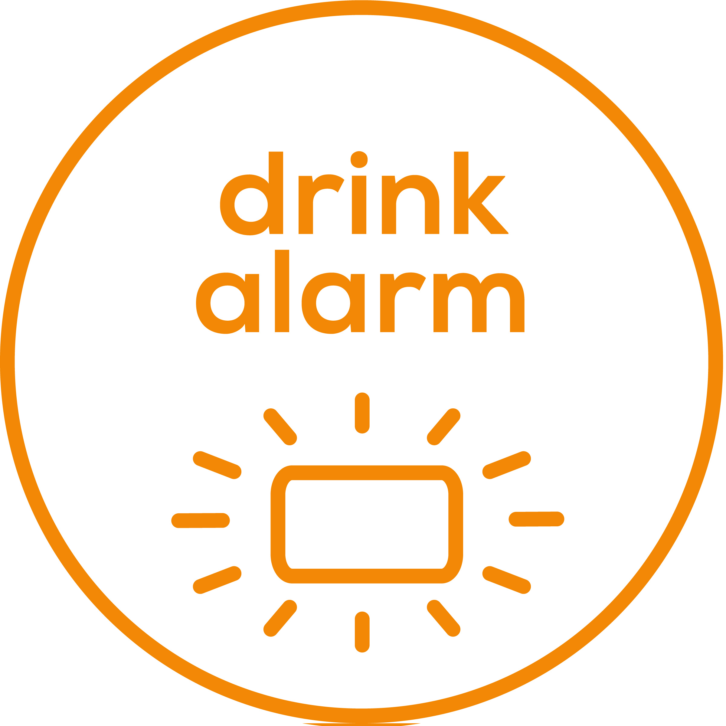 Drink alarm LED reminder function (green/yellow/red) and acoustic signal on the device