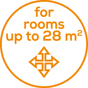 Room sizes Suitable for rooms up to 28 m²