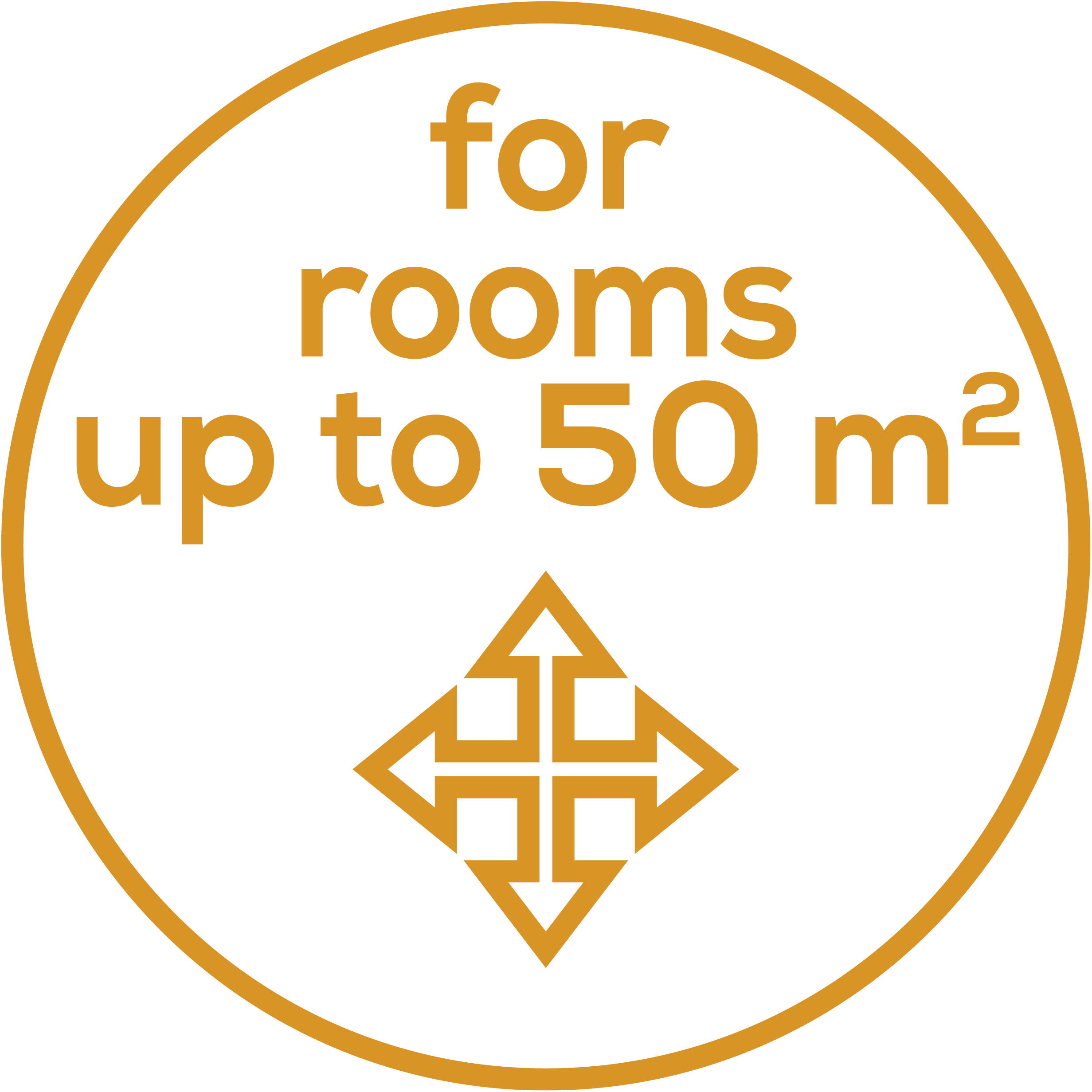 Room size Suitable for rooms up to 50 m²