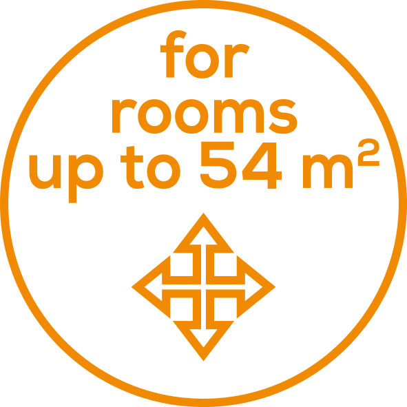Room sizes Suitable for rooms up to 54 m²