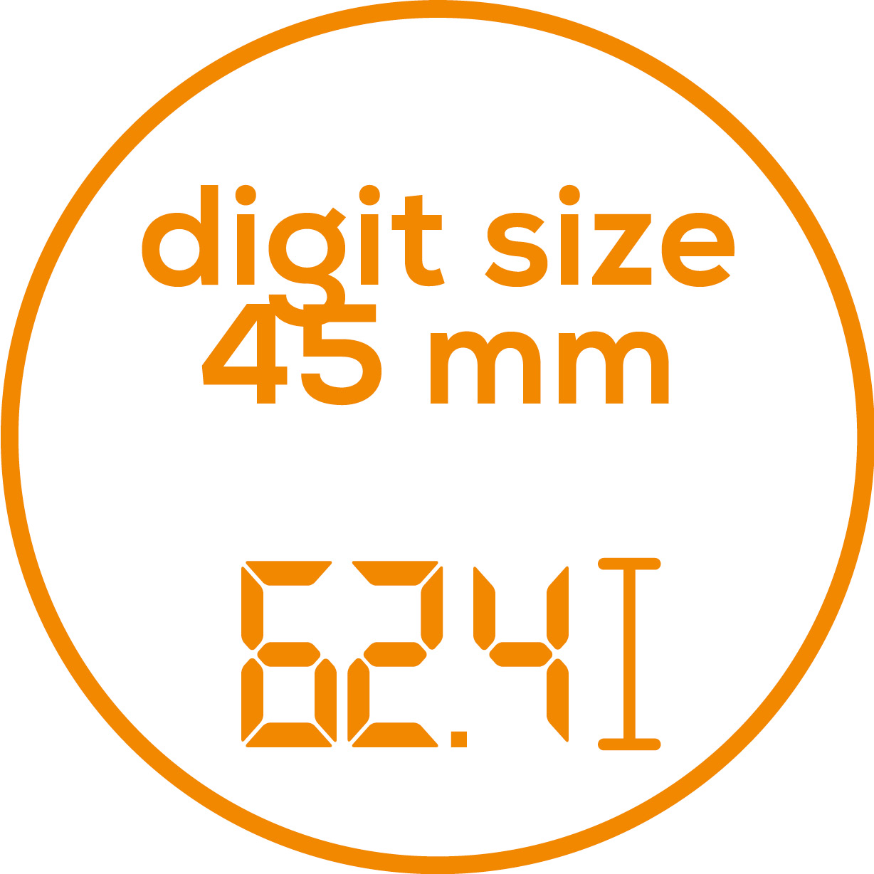 Digit size Digit size: 45 mm