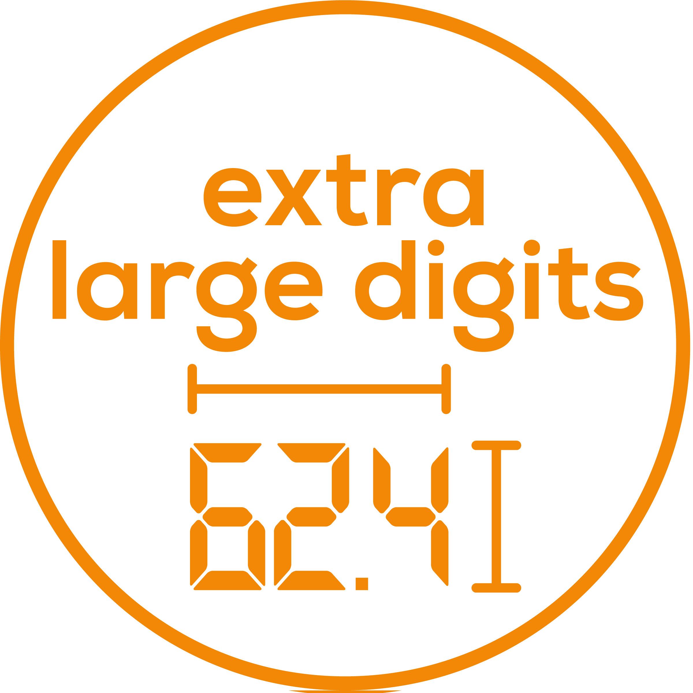 Números extragrandes La báscula tiene números extragrandes