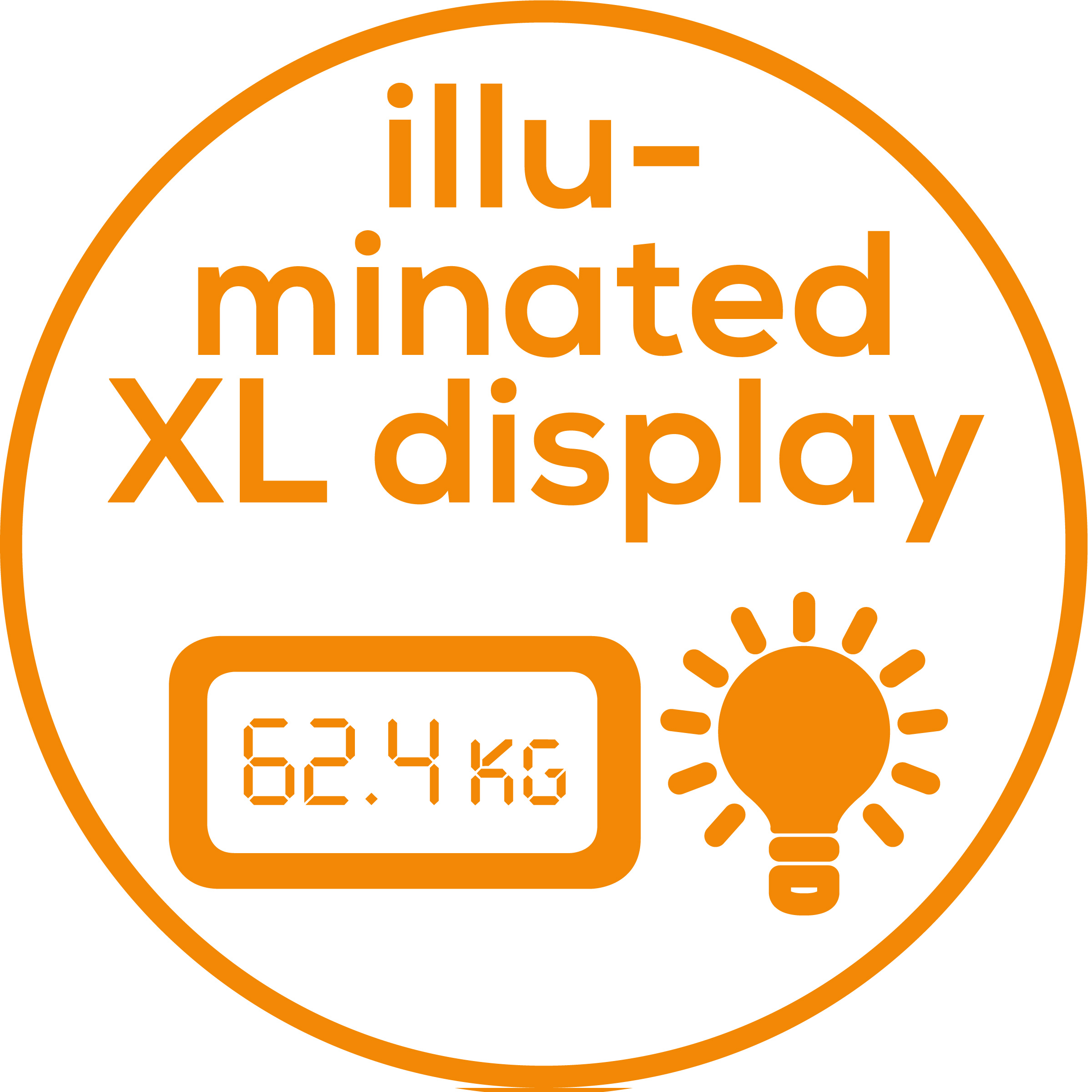 XL display Illuminated, XL display for optimum readability