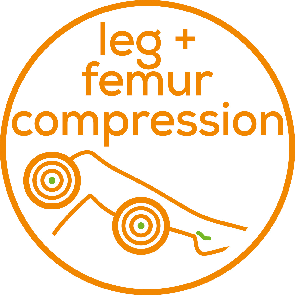 Leg and thigh compression Revitalising compression massage promotes circulation and relieves tired and heavy legs