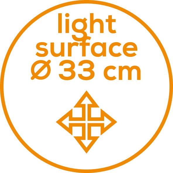 Large illumination surface 33 cm diameter