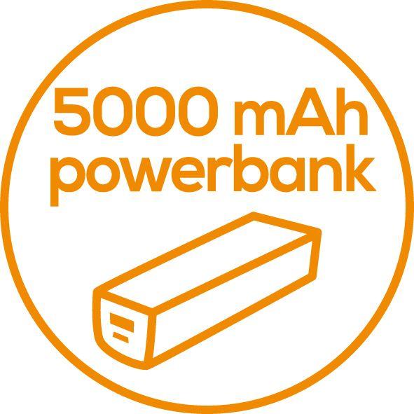Ładowarka z powerbankiem  Współpracuje z urządzeniami posiadającymi złącze USB (smartfonami, odtwarzaczami MP3 itp.)