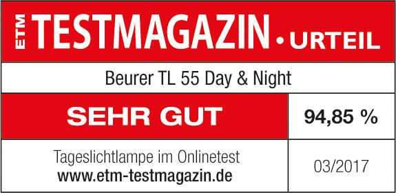 Результат тестирования: прибор дневного света Beurer TL 55 в марте 2017 г. получил 94,85% оценок «Очень хорошо»