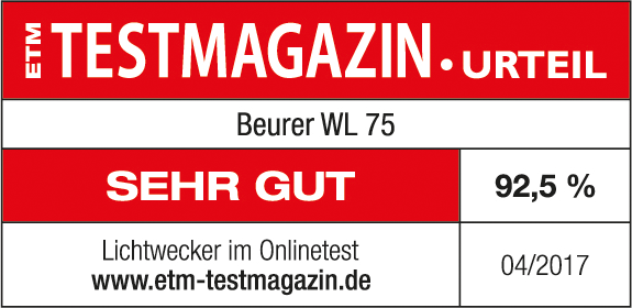Test result: 92.5% very good for the Beurer WL 75 wake up light, 04/2017