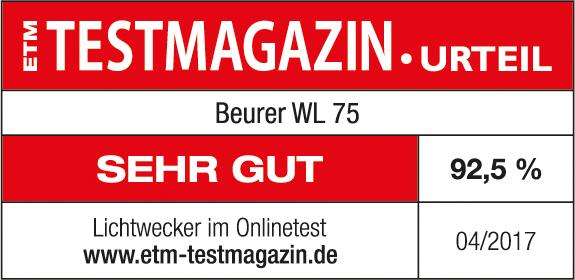 Risultato del test: 92,5 % ottimo per la luce sveglia WL 75 di Beurer, 04/2017