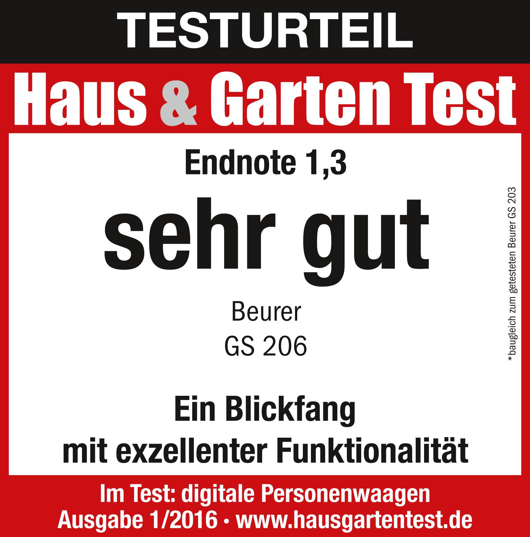 Resultado de la prueba: (1,3) sobresaliente para la báscula de vidrio de Beurer GS 206 Squares, 01/2016