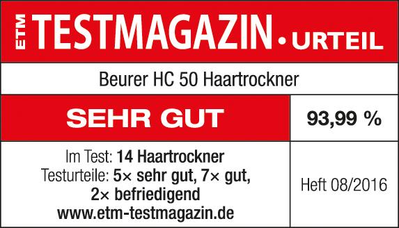 Resultado de la prueba: 93,99 % sobresaliente para el secador de pelo HC 50 de Beurer, 08/2016