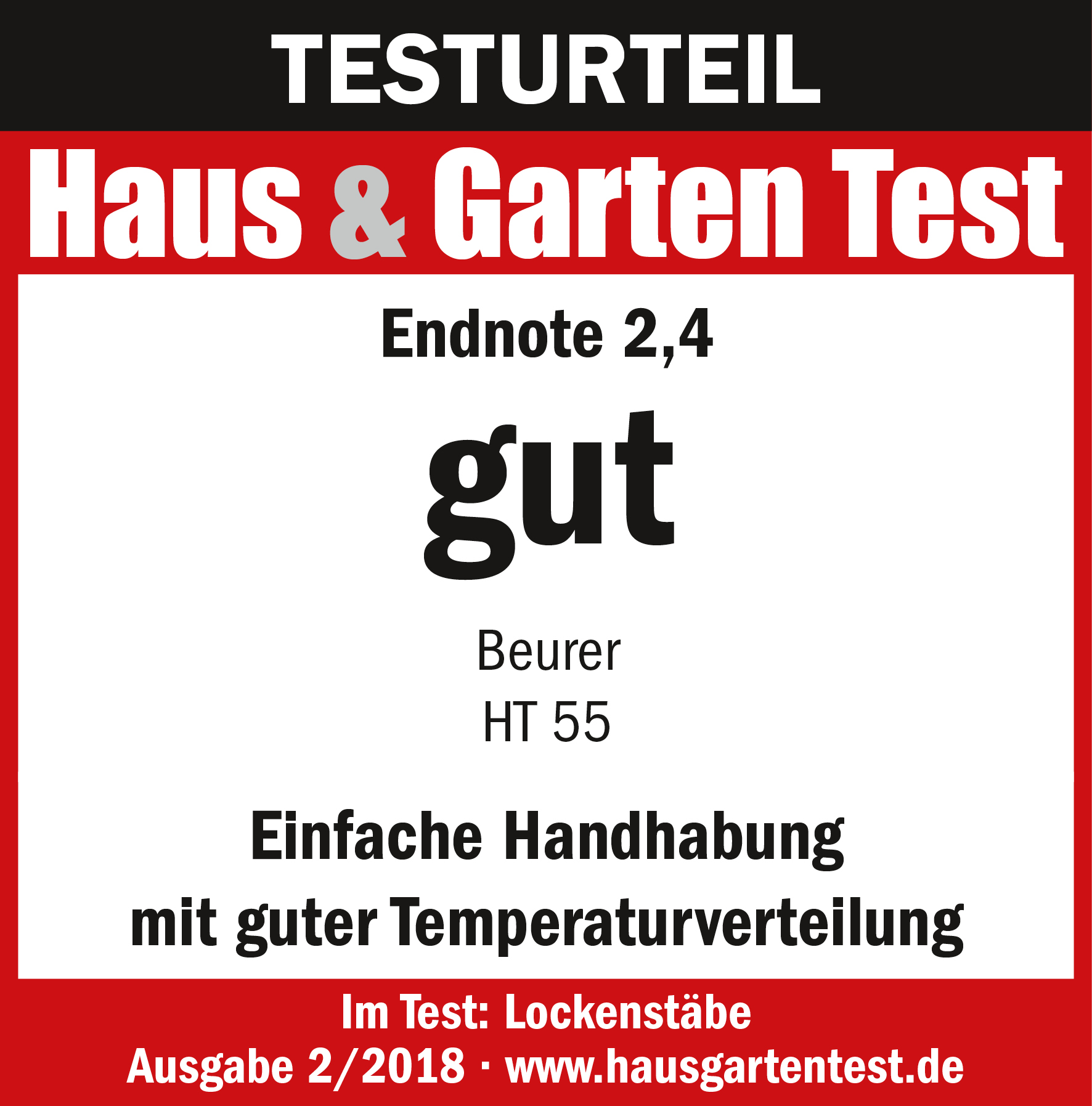 Test result: (2.4) good for the Udo Walz by beurer HT 55 curling tongs, 02/2018