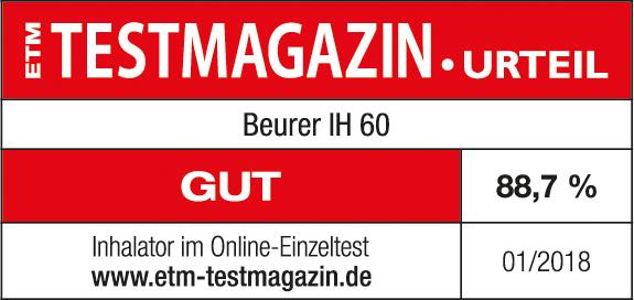 Resultado de la prueba: 88,7 % notable para el inhalador IH 60 de Beurer, 03/2017