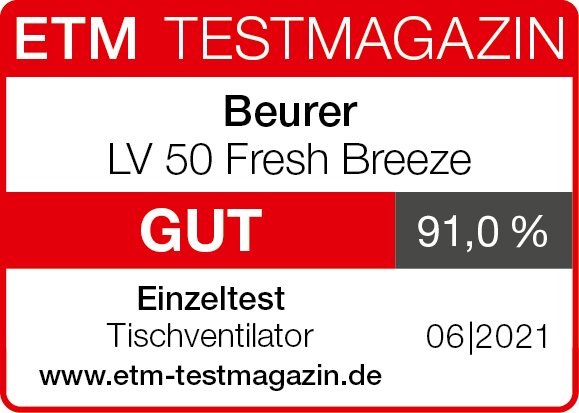 Test result: 91.0%, good, for the LV 50 Table fan from Beurer, 06/2021