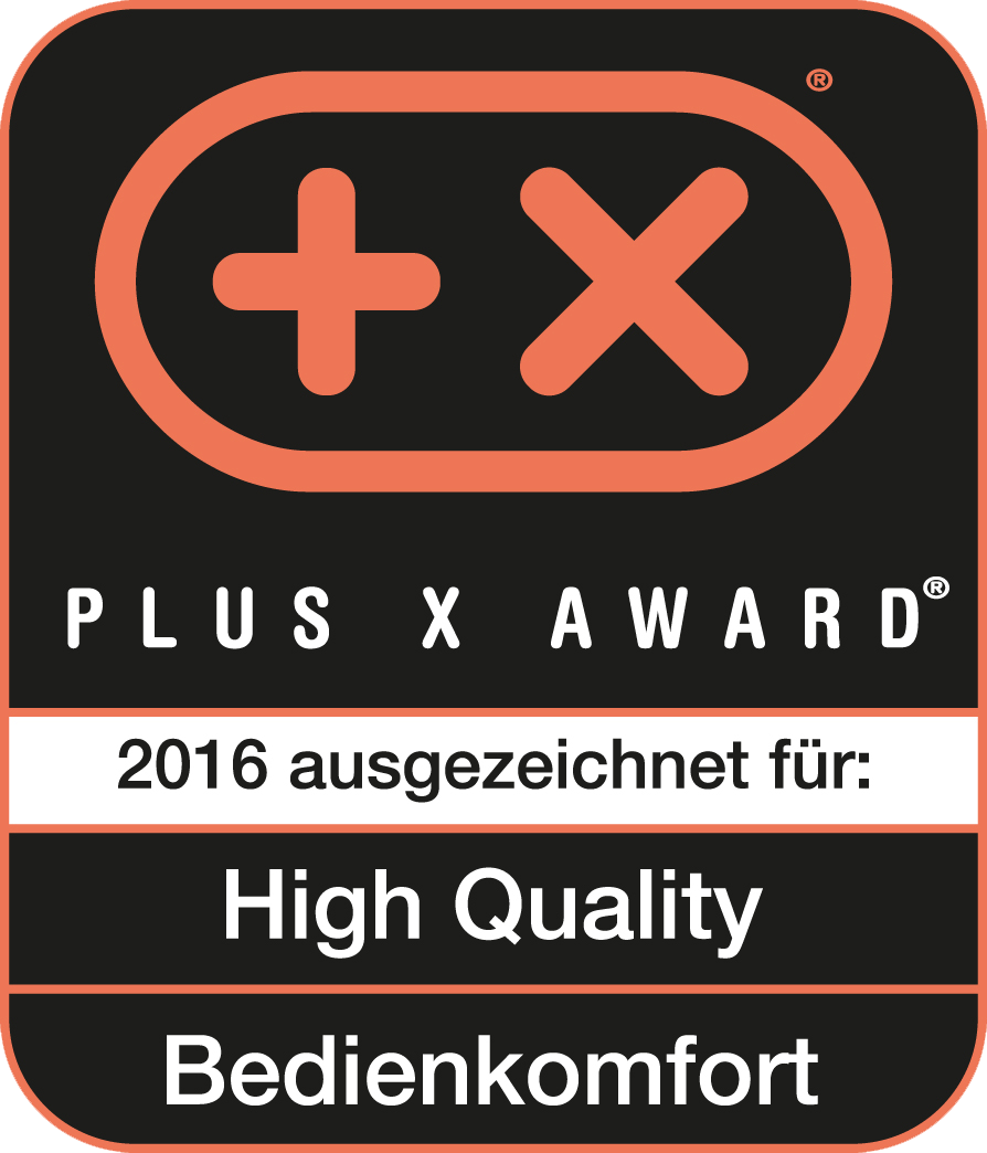 Received the Plus X Award for high quality, ease of use