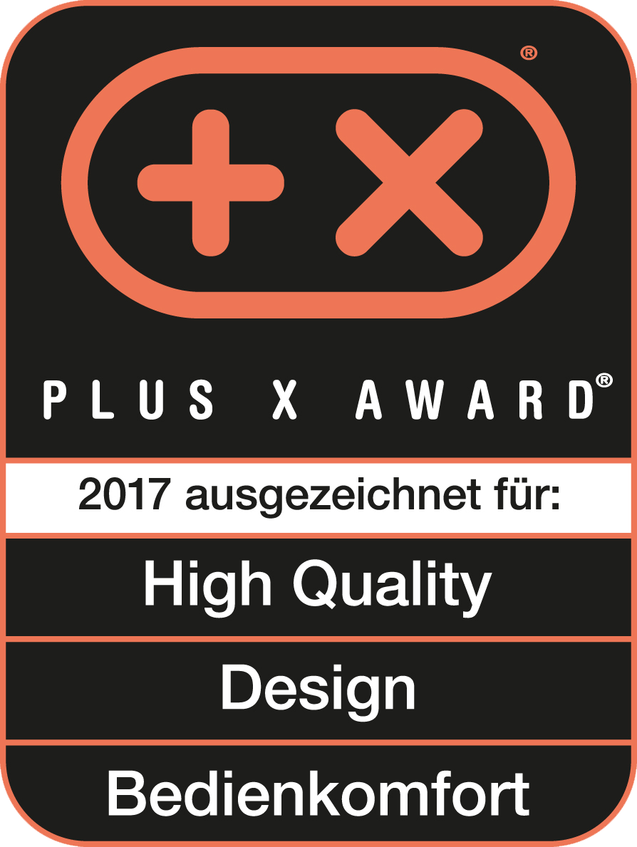 Received the Plus X Award for high quality, design, ease of use