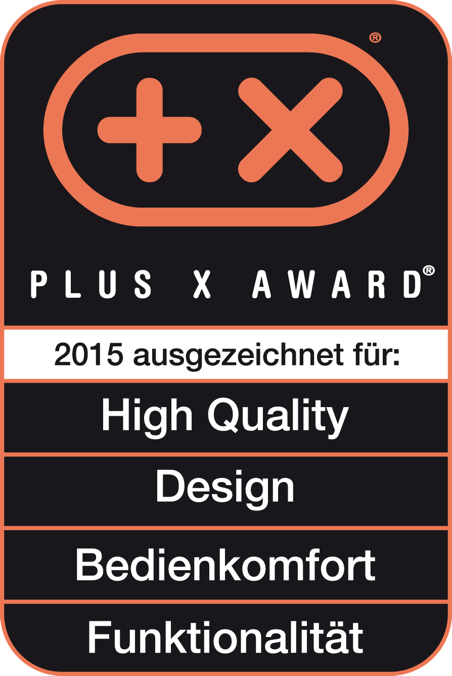 Received the Plus X Award for high quality, design, ease of use, functionality,