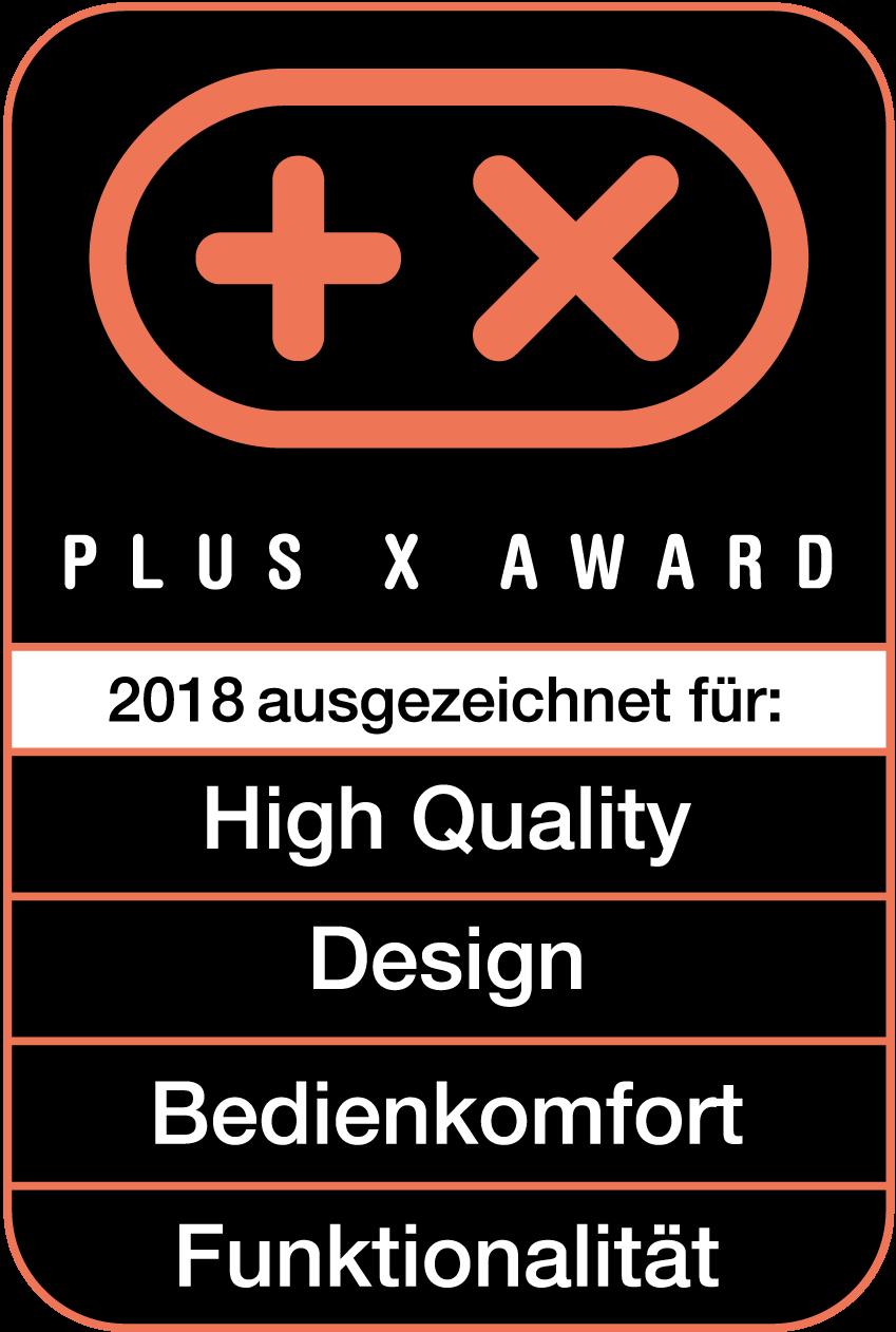 Produit récompensé par le prix Plus X Award dans les catégories Haute qualité, Design, Confort d'utilisation et Fonctionnalité