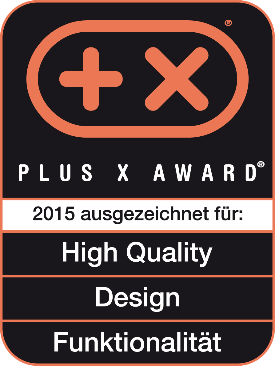 Received the Plus X Award for high quality, design, functionality