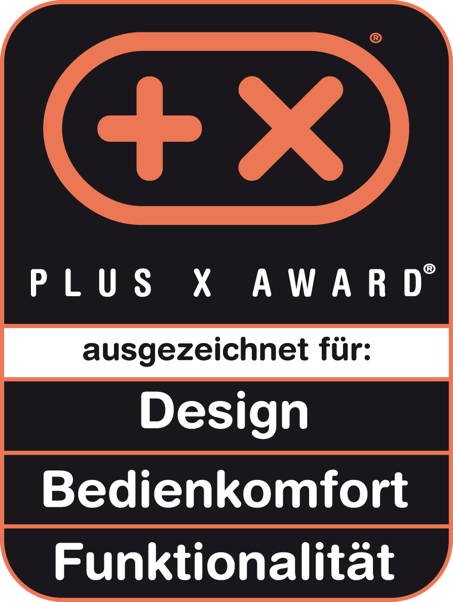 Received the Plus X Award for design, ease of use, functionality