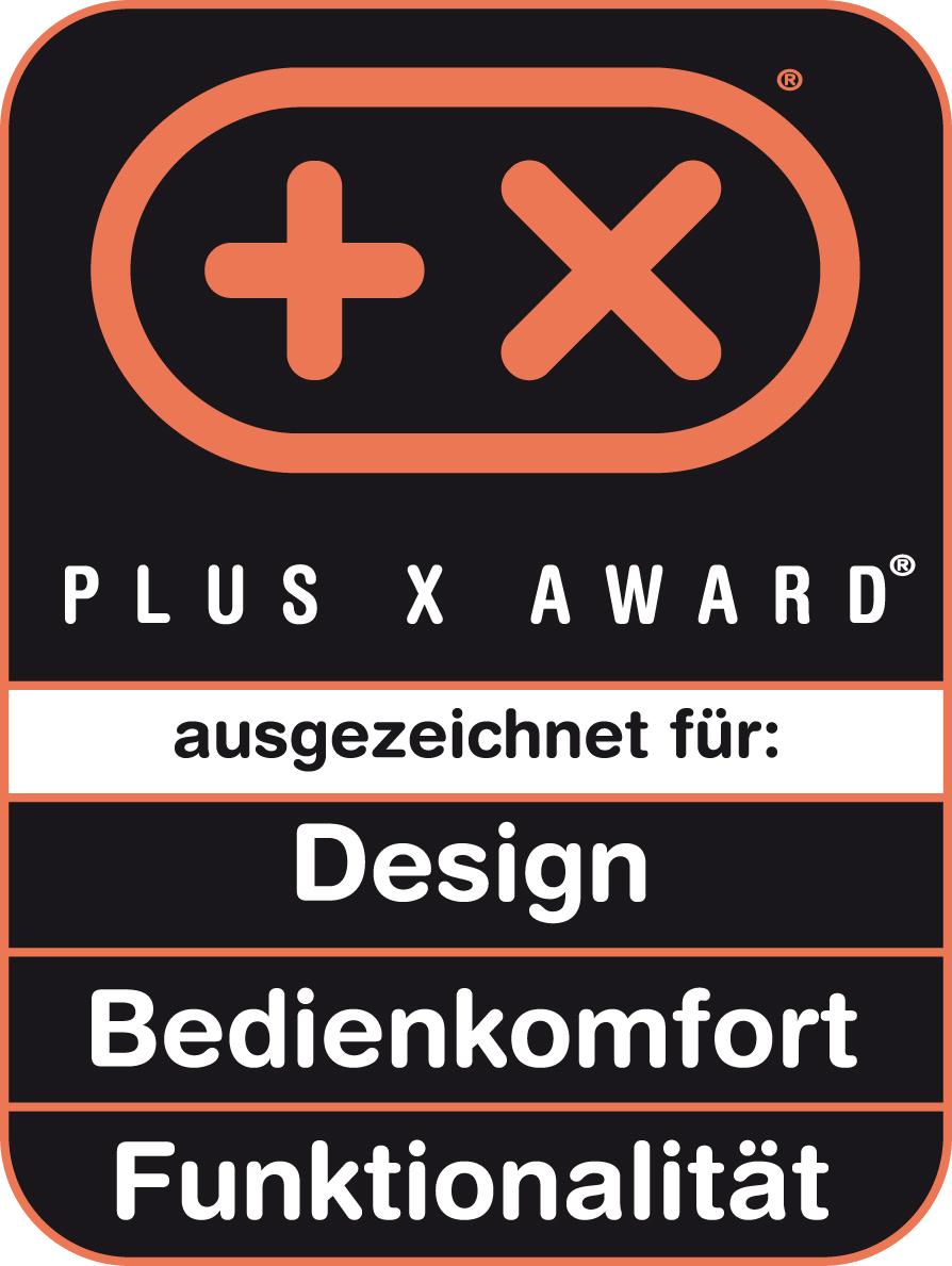 Produit récompensé par le prix Plus X Award dans les catégories Design, Confort d'utilisation et Fonctionnalité