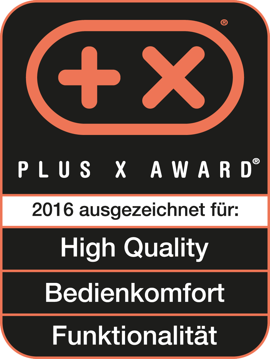Received the Plus X Award for high quality, functionality, ease of use