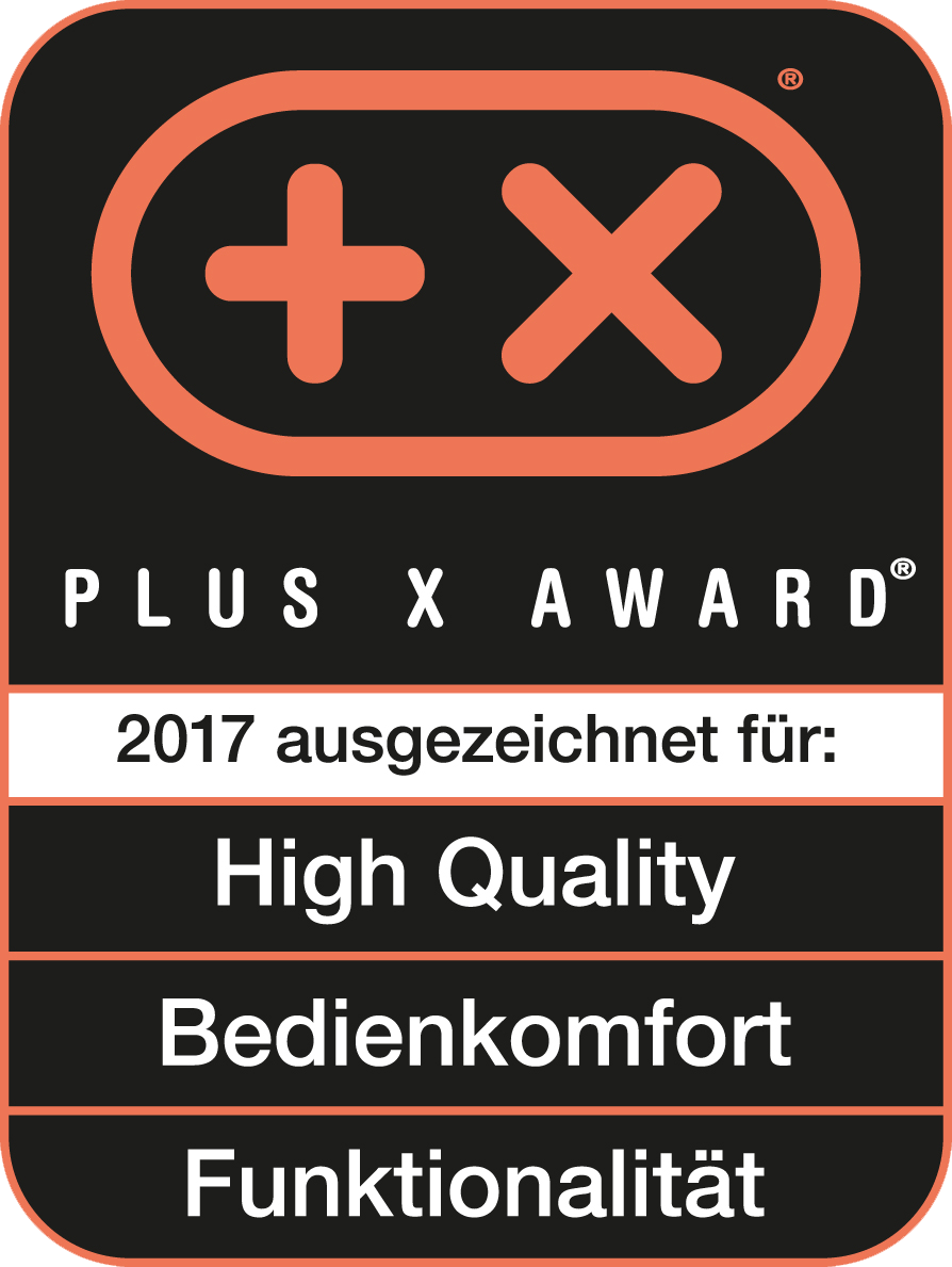 Received the Plus X Award for high quality, ease of use, functionality
